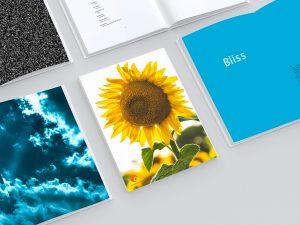 Hard cover open view book inside pages mockup